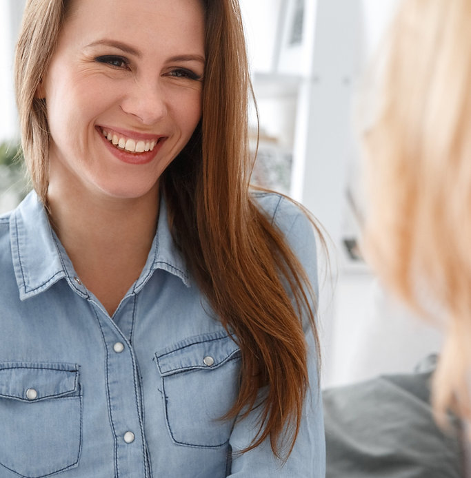 Smiling female in therapy session