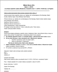 Zápis ze schůze osadního výboru 1.4.2019