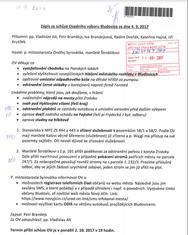 Zápis ze schůze Osadního výboru Bludovice ze dne 4. 9. 2017