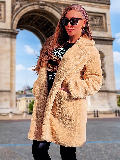 Палто- Beige teddy coat