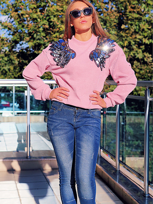Пуловер - Pink bird