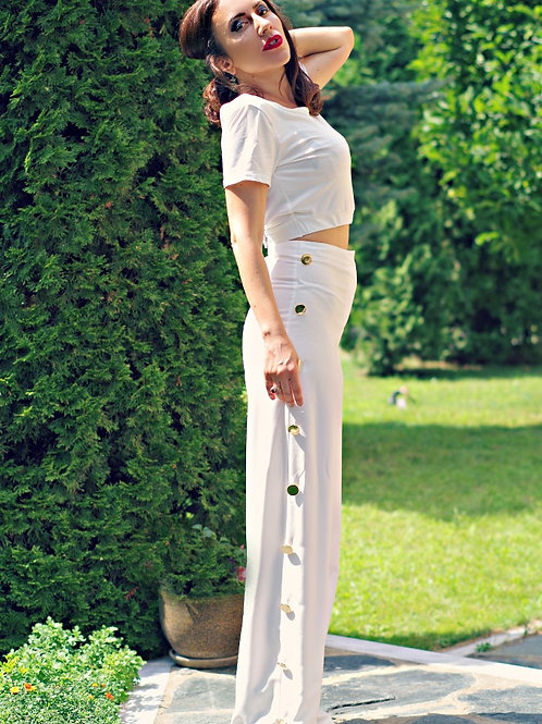 Панталон - White button trim pants