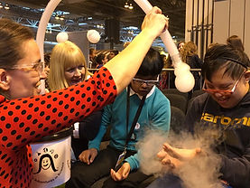 hands-on science for pupils with special needs. Picture shows The Cloud Factory, Big Bang Fair, NEC, Sarah Bearchell