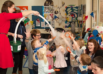 EYFS, nursery, pre-school children enjoying a Cloud Shower, exciting science STEM,