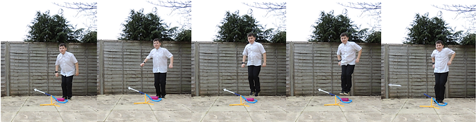 Five freeze-frames show a child launching a stomp rocket in a workshop