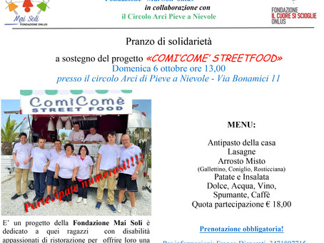 """Domenica 6 ottobre - Pranzo di solidarietà  a favore del """"ComìComè street food"""""""