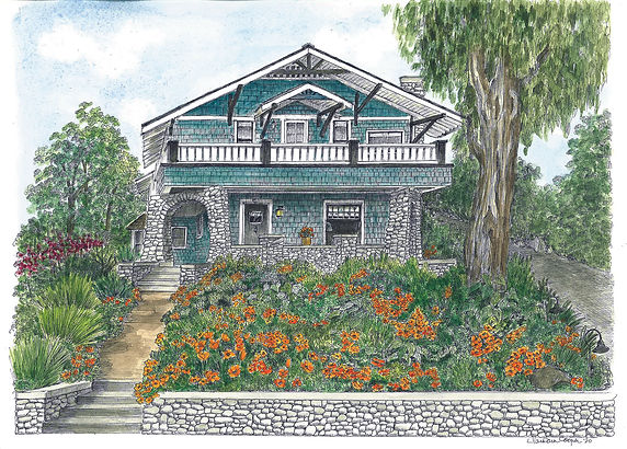 Watercolor House Portrait – Lynn Van Dam Cooper