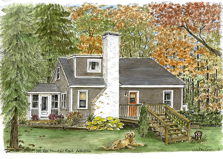 Watercolor House Portrait - Lynn Van Dam Cooper