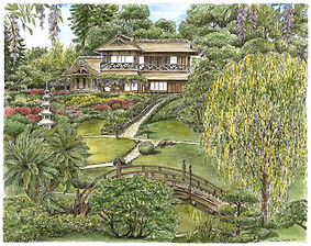 Japanese D Garden - Watercolor