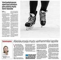 Nuorten luistelukoulu Vantaan Sanomissa