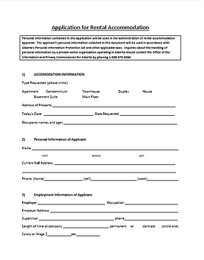 alberta rental assistance tenant application - Rental Assistance Form