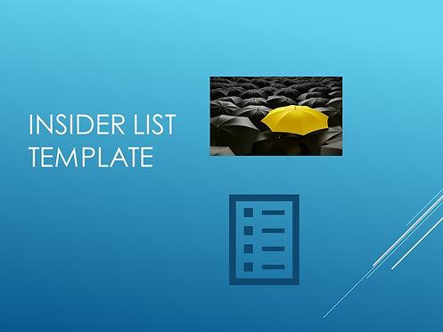 Insider List Template