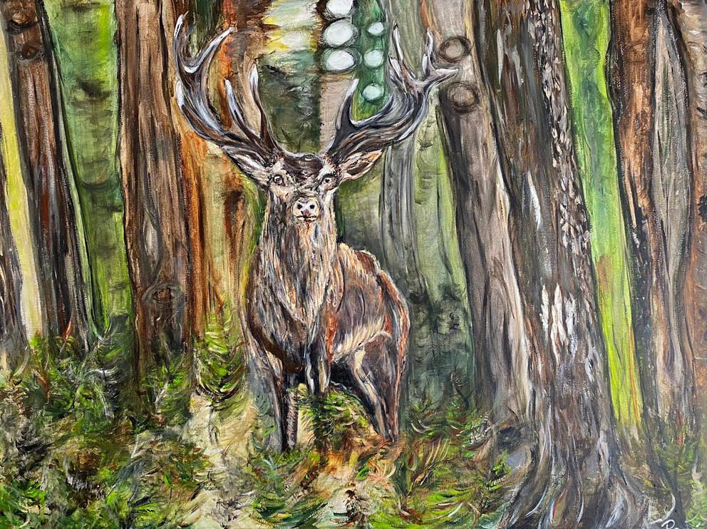 Hert in het bos met opkomende zon