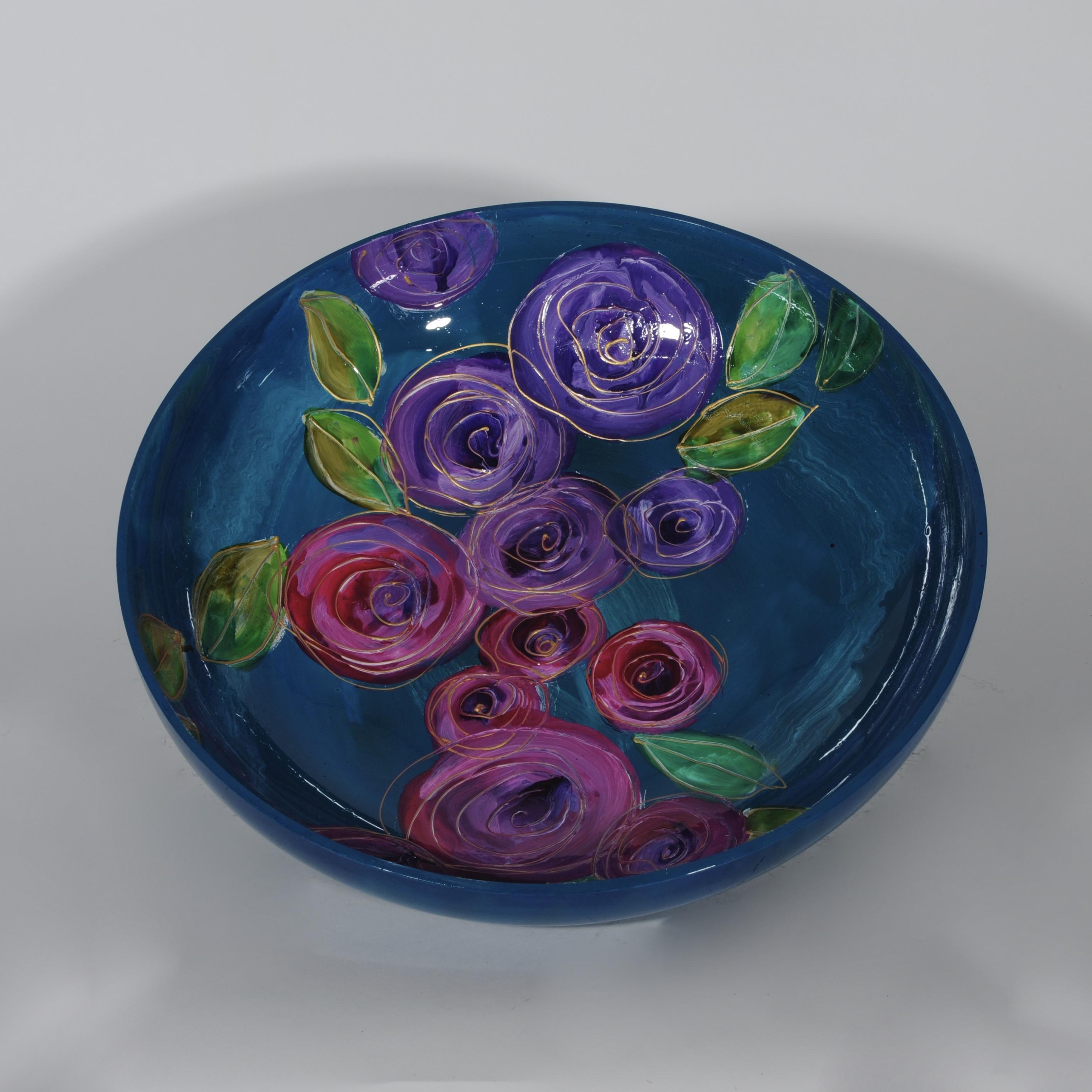 Rosa turquoise schaal