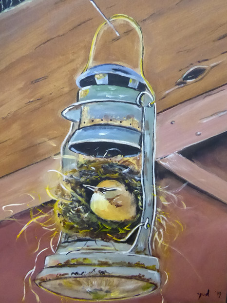 vogel in olielamp