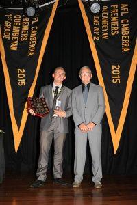 Noel Miller Medal winner for Second Grade Best and Fairest Jake Oram with Noel Miller