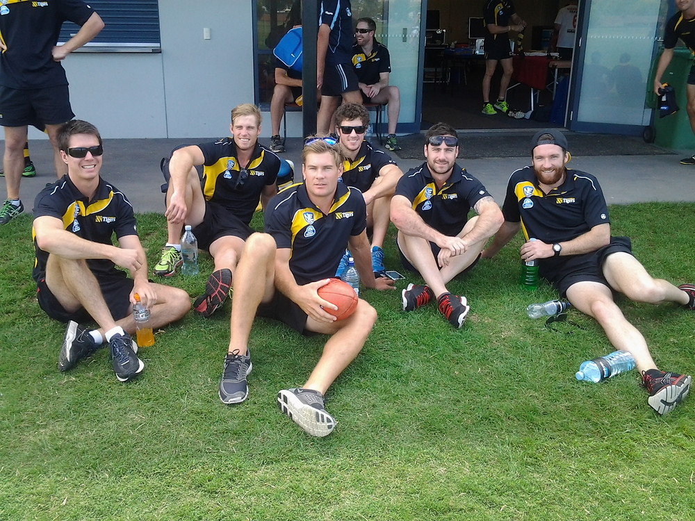 Former Hawks players in Albury before the trial game