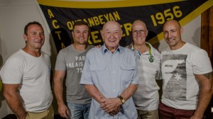 Ricky Stuart, Simon Woolford, Les McIntyre and Jason Croker were all with the Canberra Raiders during Bobby's years with them. They pictured in front of of a Queanbeyan Tigers premiership banner for the 1956 season - a year Bobby and his premiership teammates went through undefeated