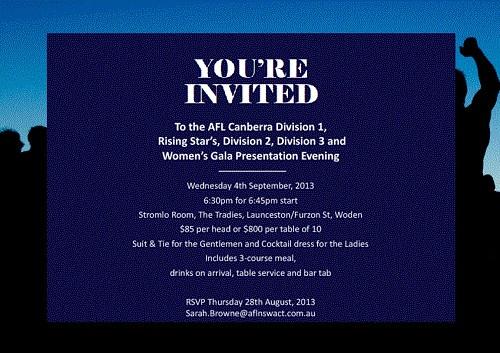 AFL Canberra Presentation Evening