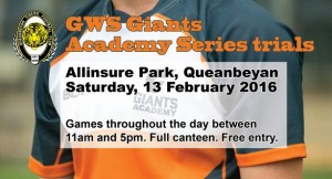 Giants Academy trials at Allinsure Park