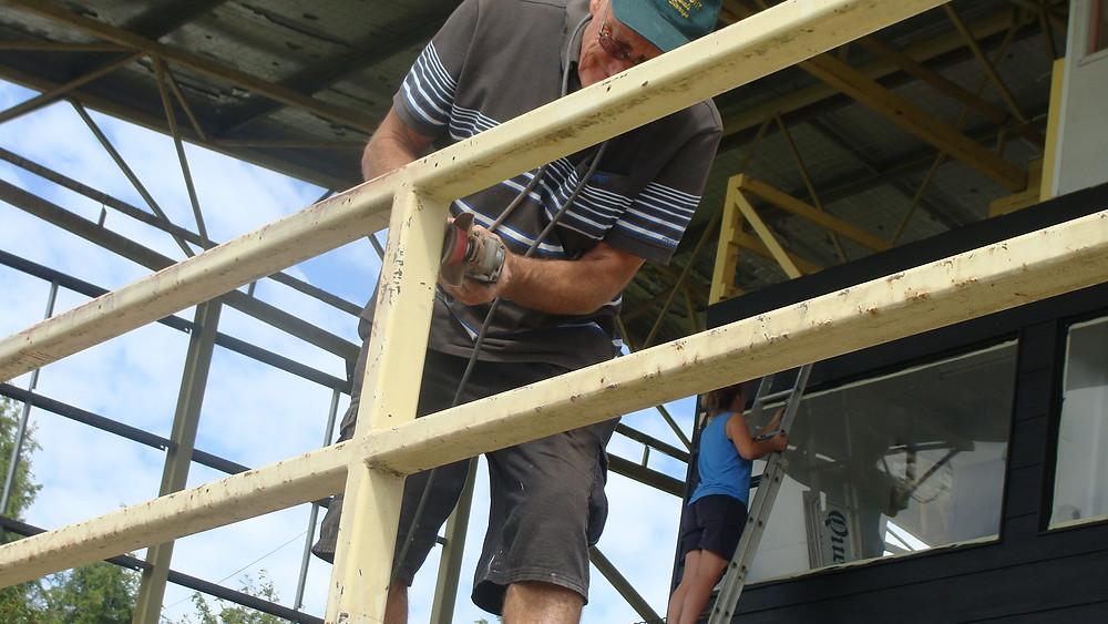 Sports Medicine Trainer Fred Gisik on the grinder