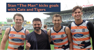 "Eight-time world kickboxing champion Stan ""The Man"" Longinidis has worked with Geelong Football Club and is pictured above with Patrick Dangerfield, Corey Enright and Tom Hawkins."