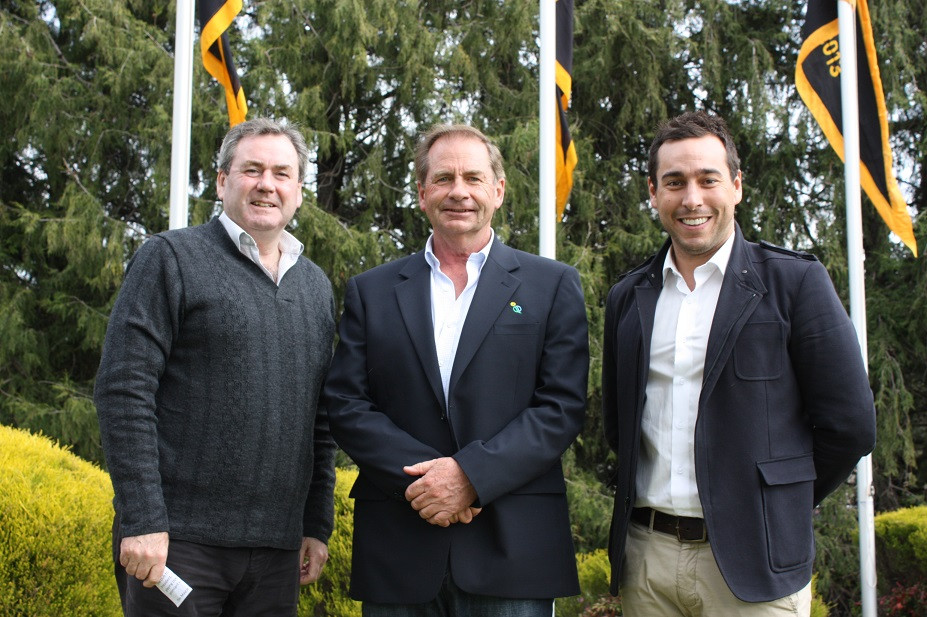 MC Paul Walshe, Mayor Tim Overall and Joe Laposta, Manager Development - AFL NSW  ACT