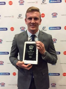 Kade Klemke with is 2016 AFL Canberra Men's Coach of the Year award