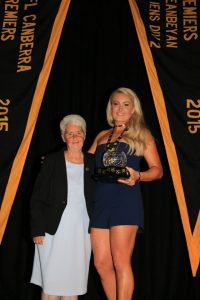 Jill Bright presents the Women's Best and Fairest to Ella Ross