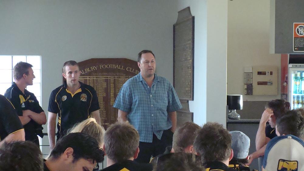 Albury Tigers President Gavan Schultz during the after match presentations.
