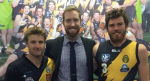 Ryan Quade (centre) with new Vice-Captain Brett Fruend (left) and new Captain Andrew Swan (right)