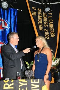 Ella Ross is interviewed by MC Peter Newham after winning the 2016 Tigers women's best and fairest at our recent presentation night.