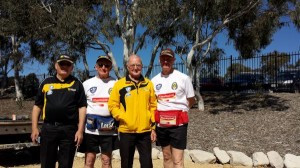 Tiger Volunteers Wally Thompson, Fred Gisik, Noel Miller and Gary Bullivant having a break during the finals last weekend.