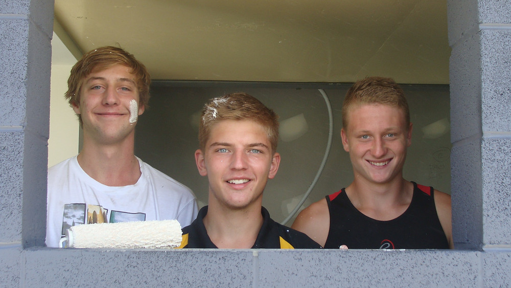 Under 18 Grade players Jackson Monck, Mitch Wallis and  Tyler Collins showing their skills from the disabled toilet