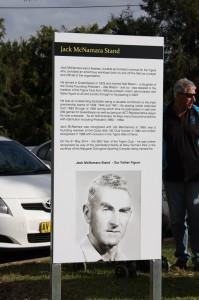 The signage depicting The Jack McNamara Stand