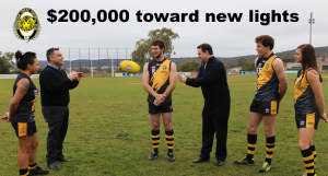 (Pictured left to right) - Lani Watson, Member for Monaro John Barilaro, Josh Bryce,  NSW Minister for Sport Stuart Ayers, Jono Bowyer and Carly Res tossed the ball around after an announcement of funding for an upgrade of the lights at Allinsure Park.