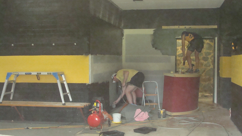 Club Captain Ryan Quade and NEAFL Player Dave Smith painting in the home changerooms