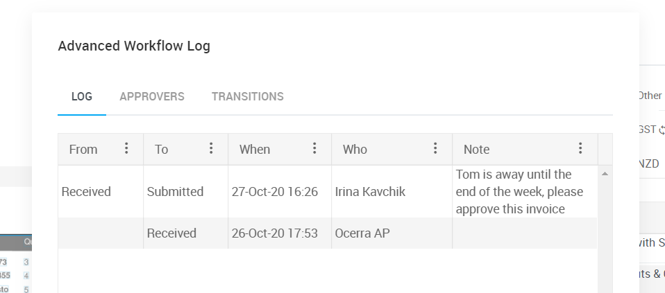 Digital approval workflow log and audit trail