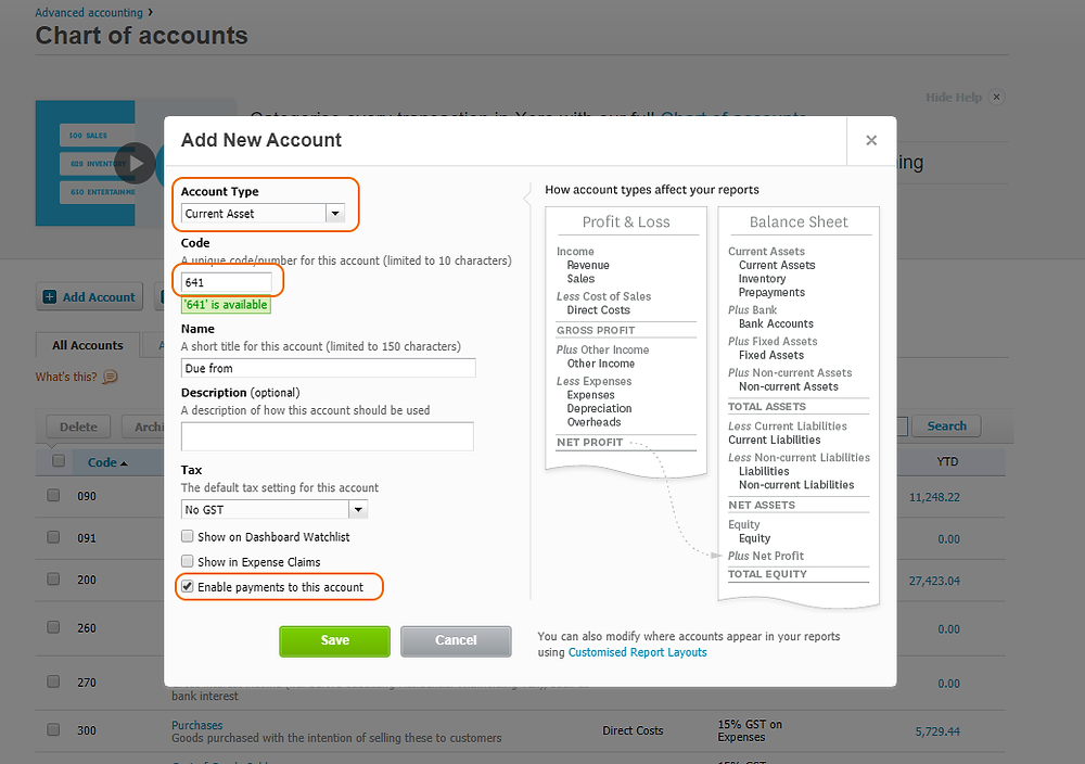 Creating Due from account in Xero