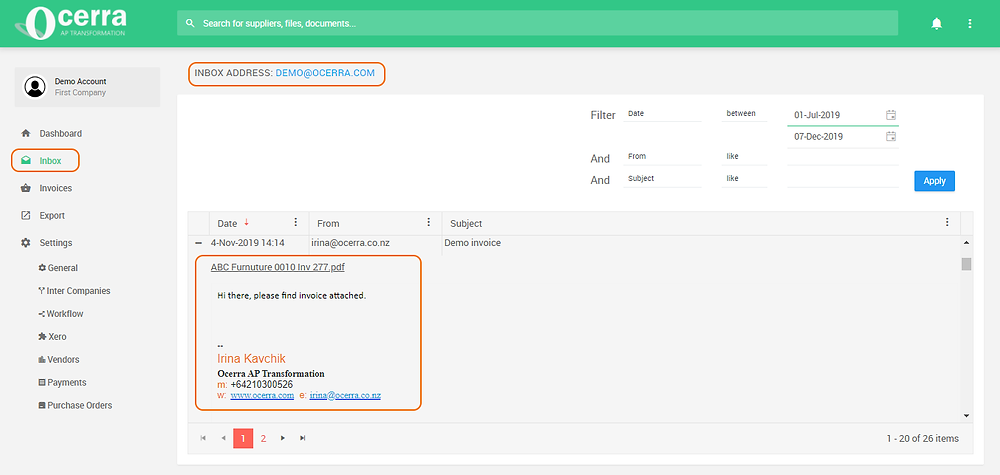 Automatically capturing AP invoices and email content information