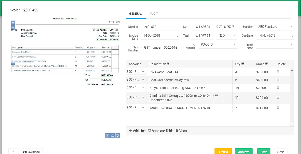 Line item extraction for accounts payable