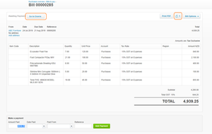 Exporting bill to Xero using automated data entry
