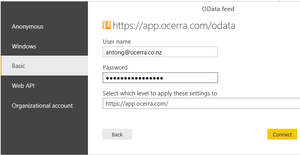 Ocerra AP automation OData Connection screen for Power BI