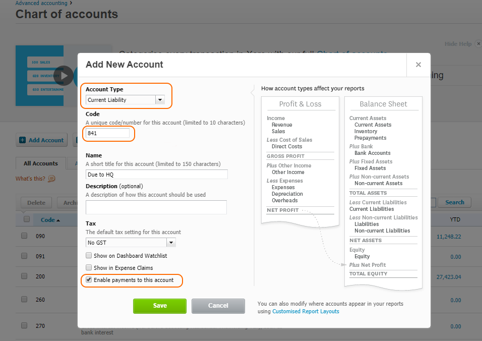 Creating Due to account in Xero