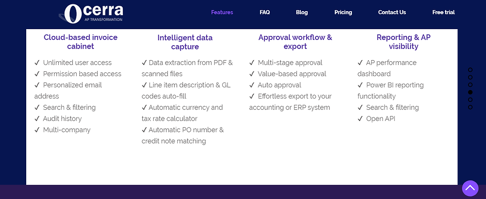 Ocerra AP Automation a full list of features December 2019