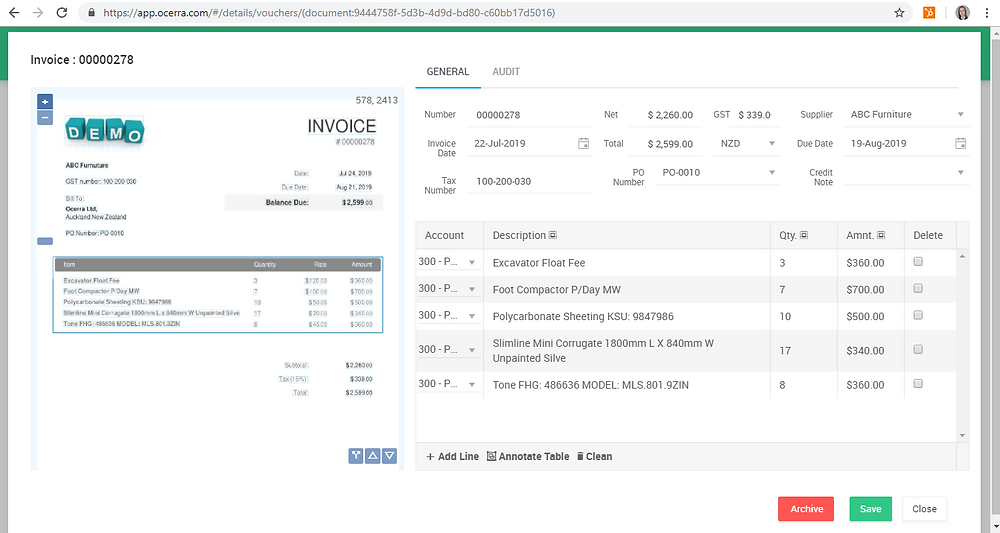 Invoice data auto-extract for AP automation