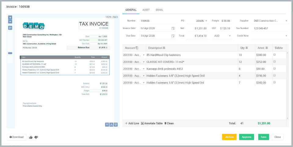 Invoice data capture for MYOB Adanced