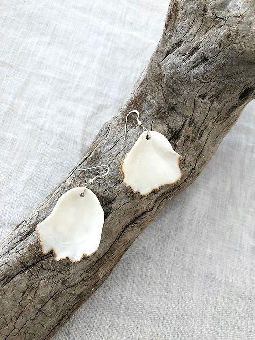 Porcelain - White Oyster earrings