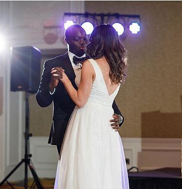 Dance floor lighting at a wedding reception