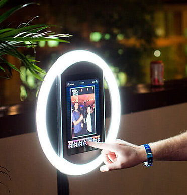 A HALO light photo booth by simple booth